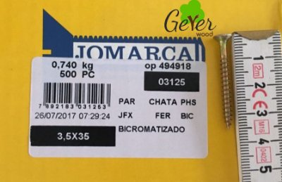 Parafuso Bicromatizado Cabeça Chata PHS Phillips 3,5 X 35 mm (500 PÇs) - JOMARCA 03125