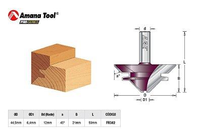 Amana Tool - AGE™ Pro-Series - Fresa Lock Miter p/ Colagem em 45° c/ Encaixe - Haste 12mm [FR342]