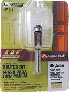 Amana Tool - AGE™ Pro-Series - Fresa Reta Paralela 9,5mm c/ Rolamento Inferior para Laminados [FR140] Haste 6mm - Flush