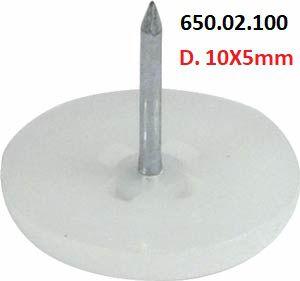 Häfele - Deslizadores p/ pregar D. 10X5mm Plástico (Branco)