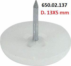 Häfele - Deslizadores p/ pregar D. 13X5mm Plástico (Branco)