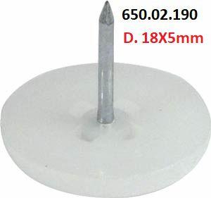 Häfele - Deslizadores p/ pregar D. 18X5mm Plástico (Branco)