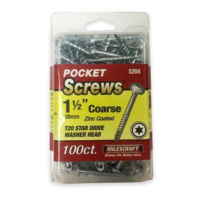 """Milescraft - Parafuso Pocket Hole (5204) - 1.50"""" - 38mm - Cabeça Flangeada - Rosca Grossa"""