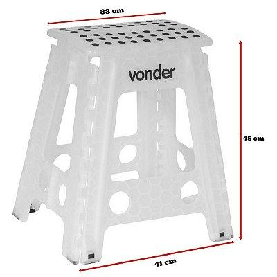 VONDER - Banqueta plástica Dobrável, altura 450 mm
