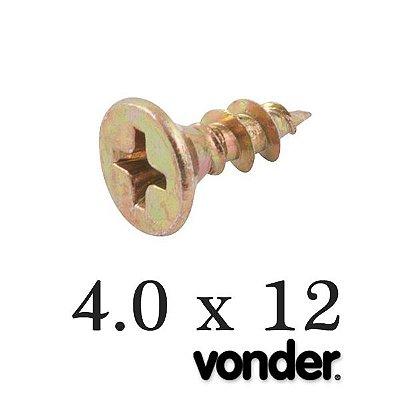 VONDER - Parafuso p/ Madeira 4,0 x 12 Chipboard (500 PÇs)