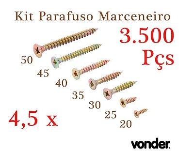VONDER Parafuso Madeira 4,5 x Todos Nº (3.500 Pçs)
