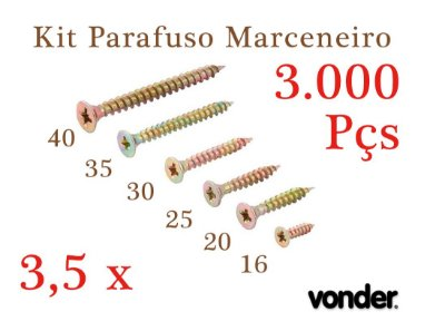 VONDER Parafuso Madeira 3,5 x 16-20-25-30-35-40 (3.000 pçs)