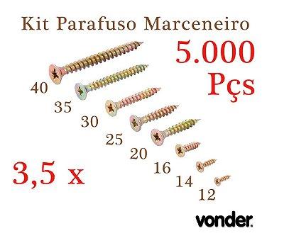 VONDER Parafuso Madeira 3,5 x 12-14-16-20-25-30-35-40 5000pç
