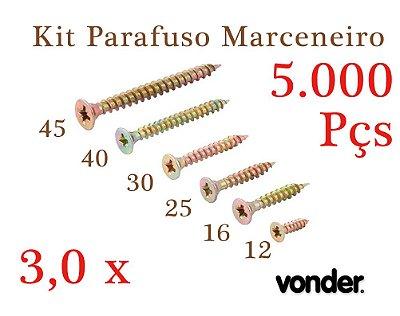 VONDER Parafuso Madeira 3,0 x 12-16-25-30-40-45 (5.000pç)