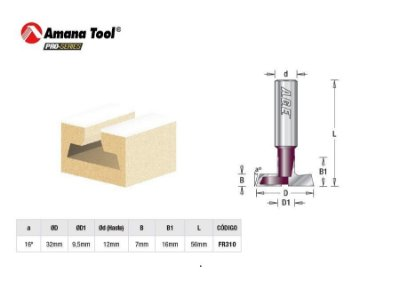 Amana Tool - Fresa p/ Painel Canaletado 16 - 32 mm FR310 - T-Slot Carbide Tipped