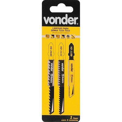 VONDER - Jogo de lâminas de serra tico tico, com 3 peças