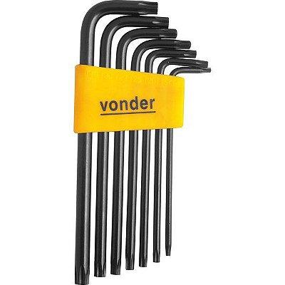 VONDER - Jogo de chaves Hexalobular, T10 a T40, com 7 peças