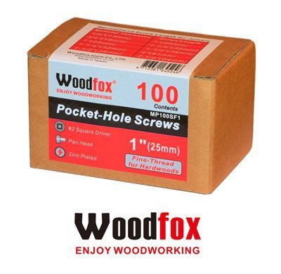 WOODFOX - Parafusos Pocket Hole - Rosca Fina 1 in (25mm) 100 pçs MP100SF1