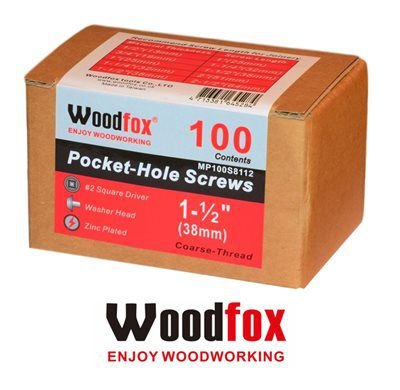 WOODFOX - Parafusos Pocket Hole - Rosca Grossa 1.50 in (38mm) 100 pçs MP100S8112