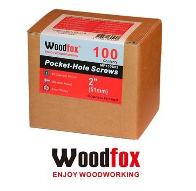 WOODFOX - Parafusos Pocket Hole - Rosca Grossa 2.0 in (51mm) 100 pçs MP100S82
