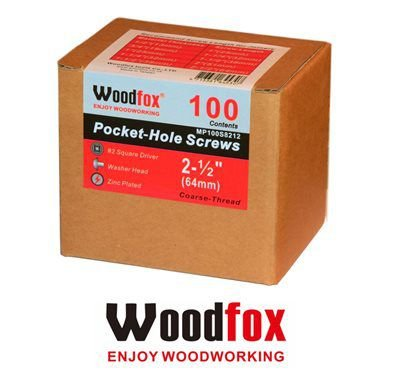WOODFOX - Parafusos Pocket Hole - Rosca Grossa 2.5 in (64mm) 100 pçs MP100S8212