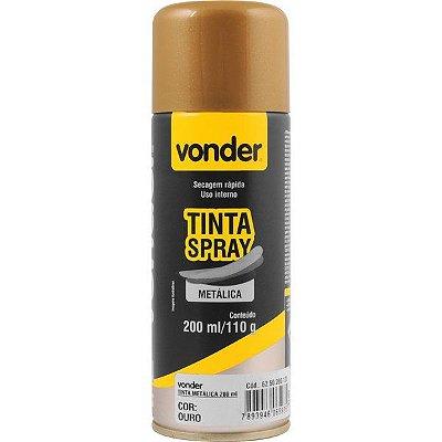 VONDER - Tinta em spray metálica, ouro, com 200 ml