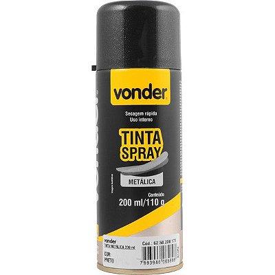VONDER - Tinta em spray metálica, preta, com 200 ml
