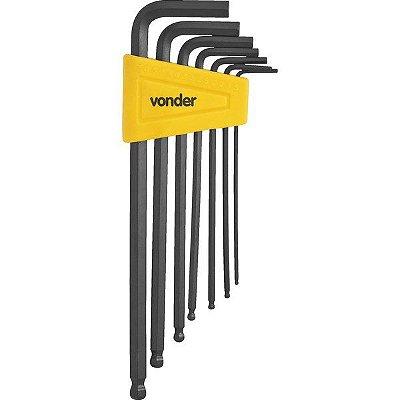 VONDER - Jogo de chaves allen 1,5 mm a 6 mm, abauladas, com 7 peças