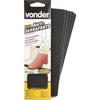 VONDER - Fita antiderrapante com 6 peças, preta 50 mm x 220 mm