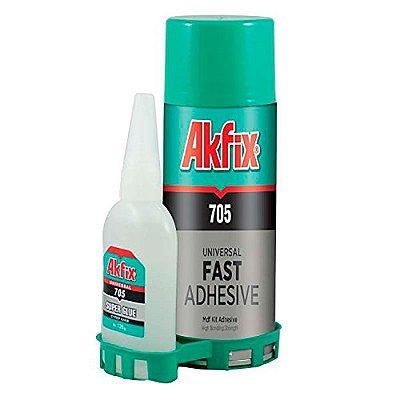 Akfix - 705 Conjunto Cola Cianocrilato Alta Viscosidade + Ativador, KIT MDF (200ml-50g)