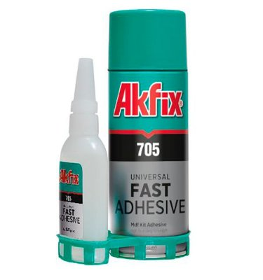 Akfix - 705 Conjunto Cola Cianocrilato Alta Viscosidade + Ativador, KIT MDF (400ml-125g)