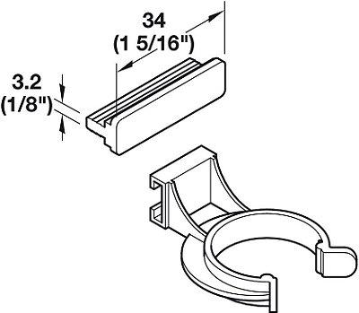 Häfele - AXILO - Clip montagem por Encaixe FIX Frontal Plastico - 637.38.063