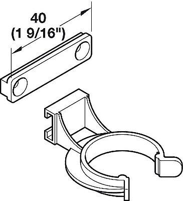 Häfele - AXILO - Clip montagem por Parafuso FIX Frontal Plastico - 637.38.054