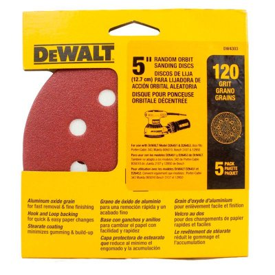 """Dewalt - Discos Lixa 5"""" Grão 120 Médio DW4303-X - 8 Furos c/ 5 peças"""
