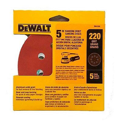 """Dewalt - Discos Lixa 5"""" Grão 220 Fino DW4306-X - 8 Furos c/ 5 peças"""