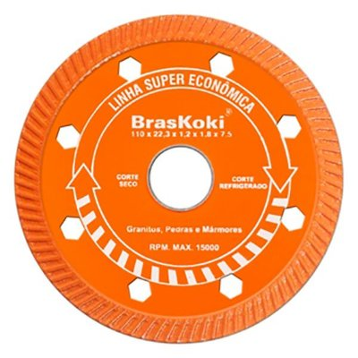 BrasKoki - Disco diamantado 110mm turbojet l.s.econ. Laranja