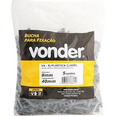 VONDER - Bucha Plástica de Fixação - 08mm - com Anel - VA-8 Pacote 500 peças