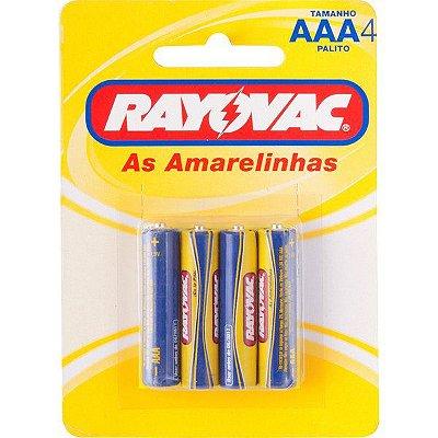 """RAYOVAC - Pilha para Uso Geral """"AAA"""" Palito - Cartela com 4 peças"""