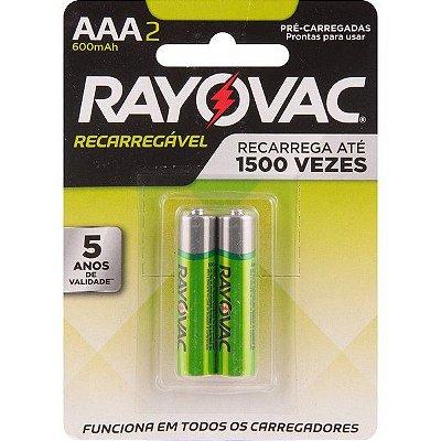 """RAYOVAC - Pilha Recarregável Econômica """"AAA"""" Palito - Cartela com 2 peças"""