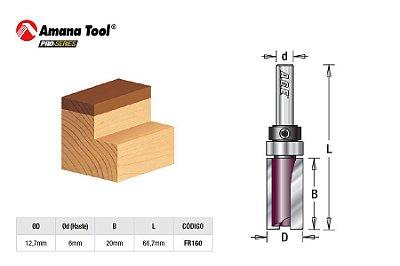 Amana Tool - AGE™ Pro-Series - FR160 - Fresa Reta Paralela 12,7 c/ Rolamento Superior - Flush Trim Plunge - Haste 6m