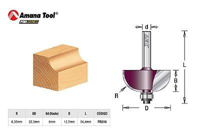 Amana Tool - AGE™ Pro-Series - FR210 - Concava de Arredondar Raio 6,35mm c/ Rolamento - Cove - Haste 6mm