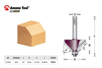 Amana Tool - AGE™ Pro-Series - FR220 - Chanfrar 45º c/ Rolamento  - Chamfer with Bearing - Haste 6mm