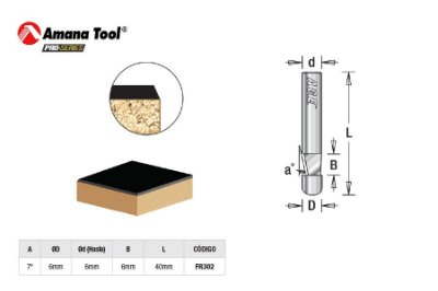 Amana Tool - AGE™ Pro-Series - FR302 - Piloto 7º p/ Formica Laminados - Flush Trim with Pilot - Haste 6mm