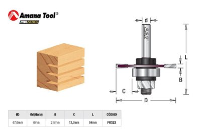 Amana Tool - AGE™ Pro-Series - FR322 - Canal Debrum 2,5mm Kerf - 3-Wing Slot Cutter - Haste 6mm