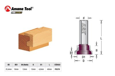 Amana Tool - AGE™ Pro-Series - FR370 - p/ Gaveta  25,4mm - Drawer Lock Joined Bit - Haste 12mm