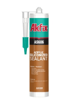 Akfix - AS606 Selador Monocomponente de Base Acrilica Siliconado, pode-se Pintar (310ml-550g) Marrom (AS 606/MA-310)