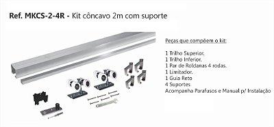 Perfil - Kit p/ Porta de Correr - MKCS 2 -4R -  côncavo 2 Mt com suporte de 4 rodas, Rodízio, Perfil 35x35