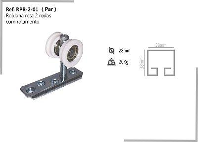 Perfil - Roldana - RPR-2-01 - Rodizio reta 2 rodas com rolamento