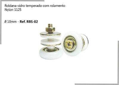 Perfil - Roldana vidro temperado - RBS 02 - Rodizio com rolamento Nylon 1125,  Ø 10mm
