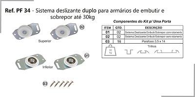 Perfil - Sistema deslizante para armário - PF 34 GMU - Duplo, Embutir e sobrepor até 30kg