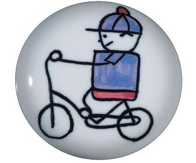 Italy Line - Puxador Menino Bicicleta - p/ móveis, armários e gavetas - 37mm - Cerâmica - (IL 7053)