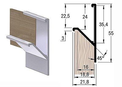 Alternativa - Perfil Puxador 4023 18mm Inox Escovado 6,0 m