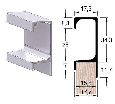 Alternativa - Perfil Puxador 5046 15mm Anodizado Jateado 6,0 m