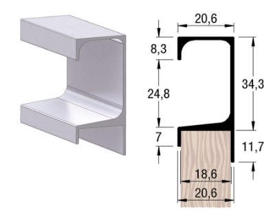 Alternativa - Perfil Puxador 5047T 18mm Inox Escovado 6,0 m
