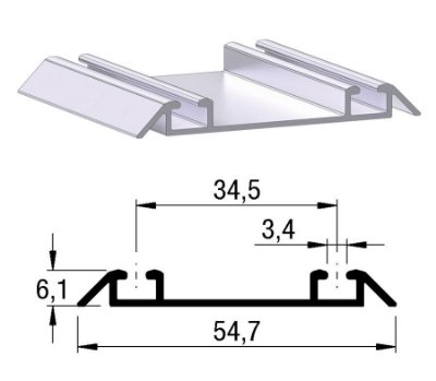 Alternativa - Trilho Inferior 2052 Anodizado s/ Jato 6,0 m